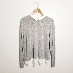 Forever 21 womens plus 1X gray knit sweater blouse